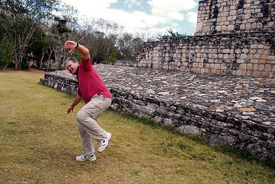 Mayan ballplayers could use only their hips to propel the ball.  Joe illustrates how this might have been done....
