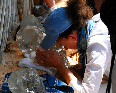 """While the site wasn't crowded with visitors, we did come upon a group of crystal skull worshippers.   Wonder if they knew they were praying for world peace in front of the tomb that once held the body of a ruler with the ancient moniker, """"Warrior Cutter of Hearts?"""""""