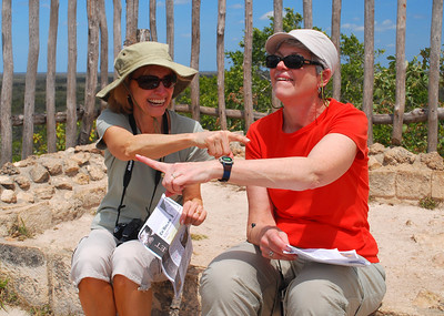 Our research told us that from the top of the Acropolis, we could see the pyramid of another Maya site (Coba) 30 miles to the southeast.  Only Jeanne and Pat couldn't quite determine which direction was southeast.