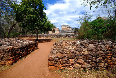 One last look back at Ek'Balam.  By 896 AD the city's heyday was over.  Researchers debate whether these remnants of ancient walls were defensive or ceremonial?  If they were to protect the city, they might indicate that this remote part of the Maya world had become dangerously unsettled during the city's final days.