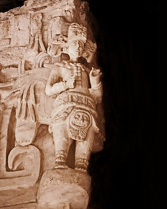 Three-quarters of the way up the Acropolis, archaeologists discovered one of the best preserved friezes found to date in Maya architecture.  Why the excellent condition?  Until 1998, the Acropolis was an overgrown mound, perhaps buried purposefully by the Maya when they abandoned the city (although the reason isn't known).  Burying the structure helped preserve many of the carvings.
