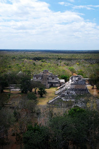 From the top of the Acropolis, we could look out over the flat scrub jungle of the Yucatan.