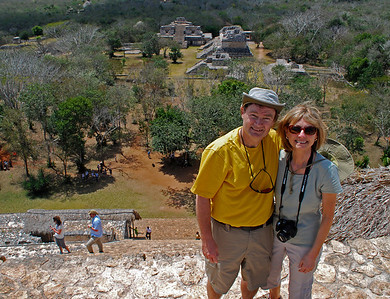 """We pose  - somewhat precariously -  at the top of the Acropolis for a """"we were there"""" photo."""