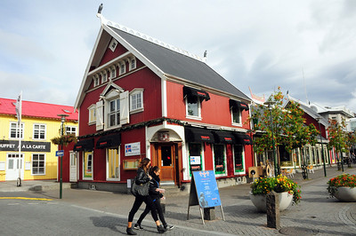 Another of Reykjavik's beautifully restored timber buildings (covered in corrugated iron for protection). Falkahusid, is where the King of Denmark once kept his much-prized Icelandic falcons (note the wooden falcons still keeping guard over the building).  There was outrage when the building was converted into a Mexican restaurant.