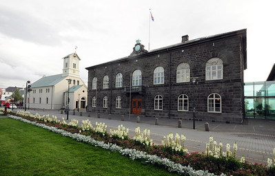 Across from Sigurðsson's statue is the Alþingishús (Parliament House).  Built in 1880-81, it is one of Iceland's oldest stone buildings.  In 1798, the parliament moved to Reykjavik from Þingvellir where it had been operating since 930 AD (Iceland can lay claim to having the oldest representative parliament in the world).