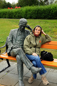Reykjavik's lakefront is spotted with several artworks, including this statue (the figure on the left is the statue).