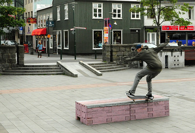 The open square in the center of the historic portion of the city is also a place for skateboarders to practice their skills.