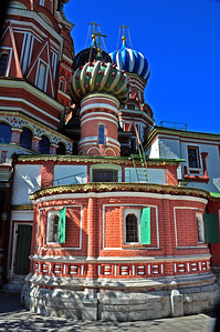 A special chapel - identifiable by its small green dome studded with small points - was added to the Cathedral to hold St. Basil's relics.