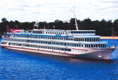 The M/S Russ, our home for the 12-day voyage.  Built in Germany in 1987, refurbished in 2011, the motorship is one of about 50 cruise ships that regularly ply the Volga.