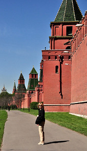 The red brick walls of the Kremlin dominate the center of Moscow.  But they haven't always been brick or, for that matter, red.  The first towered walls were completed in 1157 AD.  In 1367, the wooden walls were replaced with white stone.  The first brick walls were erected during the reign of Ivan the Great in 1485.