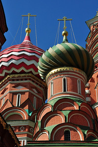 """Some scholars believe that the architect of St. Basil's Cathedral may have  """"borrowed"""" the design from Muslim structures in Kazan, ironic considering that Ivan commissioned the cathedral to celebrate his defeat of the Muslim stronghold."""