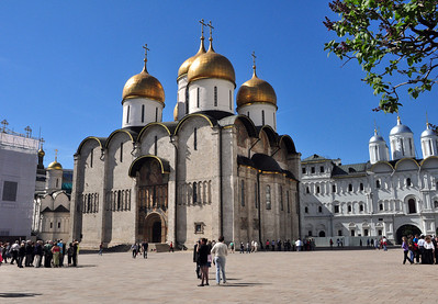 """A British diplomat once called the Kremlin a """"citadel of cathedrals.""""  More than just an enclave of government office buildings, the Kremlin is a city-within-a-city complete with palaces and churches.  This is its earliest and most famous cathedral, the Cathedral of the Assumption, built by Ivan the Great in 1479."""