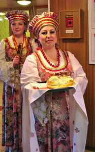 We were welcomed onboard by the Russian tradition of offering bread....