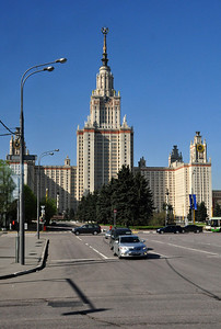 """Rising from the crest of Sparrow Hills is Moscow State University.  Founded in 1755, it claims to be the oldest university in Russia (St. Petersburg State University makes the same claim).  Its main building is the largest of  seven neoclassic towers - the so-called """"seven sisters"""" - ordered built around the city by Joseph Stalin. The MSU Main building was the tallest building in the world outside of New York City at the time of its construction and remained the tallest building in Europe until 1990."""