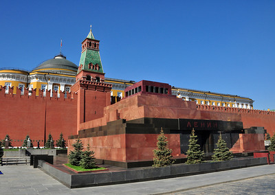 Lenin is still on display inside his mausoleum outside the Kremlin wall.  Or at least we think he is still there since the day we visited, the mausoleum was closed.