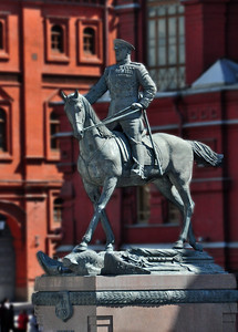The statue of Marshall Georgy Zhukov, the most decorated general in the history of the Soviet Union, who drove the Germans out of Russia during World War II and ultimately captured Berlin, depicts his horse trampling on a Nazi eagle standard.