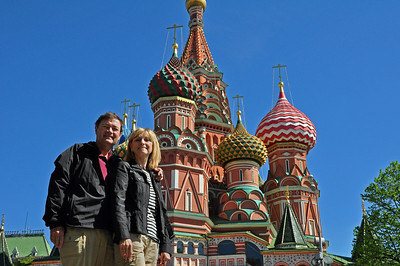 """Whatever you want to call it, St. Basil's Cathedral is Moscow's - and maybe even Russia's - most recognizable sight and one of its architectural treasures.  Well worthy of a """"We were There"""" self portrait."""