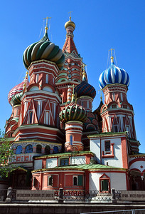 So why is it called St. Basil's?  St. Basil was a holy man who lived in Moscow in the 1500s.  Ivan the Terrible placed great stock in mystics, and Basil had impressed the Tsar by correctly predicting that a great fire would devastate Moscow in 1547. So when Basil died, Ivan directed that he be entombed in the church.