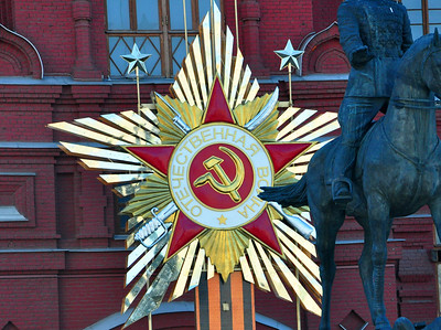 On the outer walls of the Kremlin, we could still see the hammer-and-sickle remnants of the old Soviet Union.
