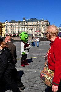 But in a sign of changing times, in addition to Soviet plaques and Lenin's Mausoleum, also present in Red Square was Shrek.