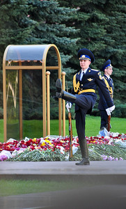 Soldiers still guard the Tomb of the Unknown Soldier outside the Kremlin Wall in the Alexander Garden.  The monument is dedicated to the Soviet soldiers killed during the Great Patriotic War of 1941-1945 (World War II).