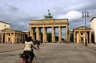 Once thousands of Nazi soldiers goosestepped beneath its arches.  Today the parades are of bicyclists and pedestrians.