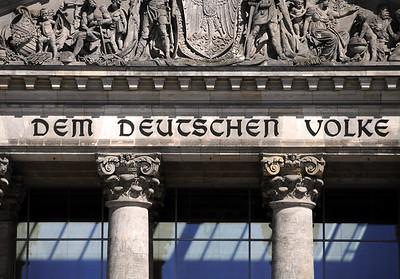 The building has long been recognized by the inscription over its main entrance: 'Dem Deutschen Volke' (To the German People).  The bronze letters were cast from seized French cannons and added in 1916 - 24 years after construction of the Reichstag was completed.