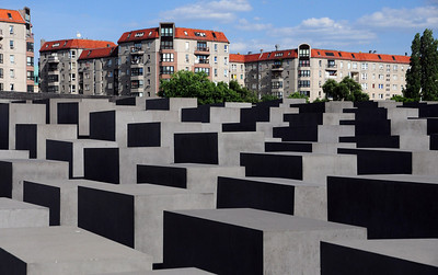 It is a canyon of concrete blocks - or stelae - 2711 in all, no two the same.  Completed in 2005 behind the US Embassy, the memorial was dedicated on May 10, 2005 as part of the celebration of the 60th anniversary of V-E Day.