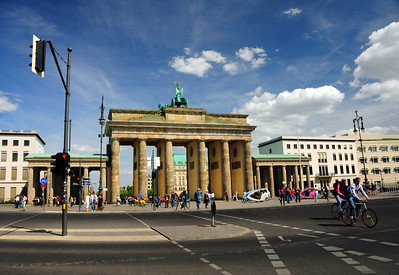 And this is its most recognizable landmark - the Brandenburg Gate.  Once it was a humble toll gate, one of 18 that led into the city.