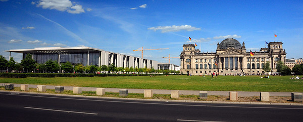 Adjacent to the historic Reichstag building is the modernistic Paul-Löbe-Haus, housing offices of the German federal parliament (or Bundestag).  It is named after the first Bundestag president Paul Löbe.  In contrast to the classic lines of the Reichstag, the modernistic style of the adjacent building reflects the rather uneven approach the city has taken to post-war urban planning.