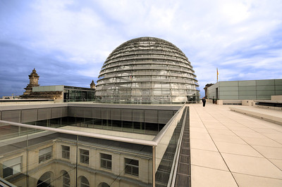 The Allies bombed the Reichstag, then helped rebuild it - its crowning touch:  a spectacular glass dome designed by British architect Sir Norman Foster, completed in 1999.  At first it was the subject of much controversy, but over time the dome has become one of the city's most recognized landmarks.