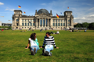 Today where some of the most brutal fighting took place in the last days of the Nazi regime, young people enjoy a sunny afternoon on the lawn...