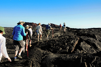 The best place to see a pahoehoe lava flow is on the island of Santiago. Just before the turn of the century, massive lava flows covered the southern part of the island, creating a seemingly endless, barren landscape.