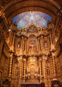 "While the Incas may have hidden their gold, the Spanish Catholics went to great lengths to showcase theirs'.  The interiors of their cathedrals gleam with a dazzling display of gold leaf.  Seven tons of gold supposedly ended up on the ceiling, walls and altars of La Compañía, ""Quito's Sistine Chapel."""