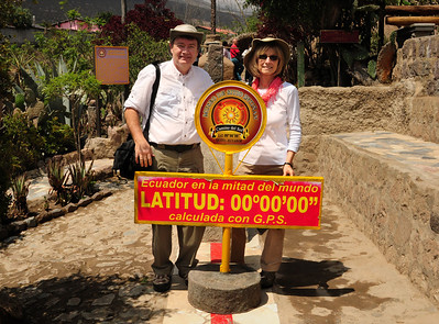 "We're standing in the middle of the world -- the true ""Middle Earth"" -- six inches apart but literally in separate hemispheres.  We on the equator in Ecuador (the country's name comes from the Spanish word for ""equator"")."