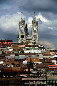 The Spanish rebuilt Quito and placed a harsh but enduring footprint on the land, its people, and its architecture.  (The Basilica del Voto Nacional, or simply 'the Basilica,'.stands on a steep hill and can be seen from almost everywhere in the city.)