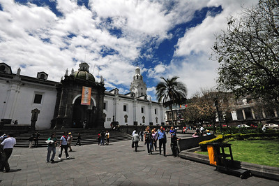 Built centuries ago by indigenous artisans and laborers, Quito's old town is dominated by churches, convents and monasteries.  One seems to be on every corner