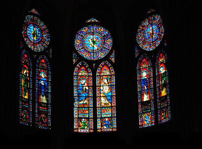 Once the flying buttresses were installed, the walls of Notre Dame were no longer the primary supports and could include large areas of glass. Huge stained glass windows and a profusion of smaller windows created the effect of lightness and space inside the Gothic cathedral.