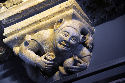 On display in the museum is one of the carved figures that once graced the rooftop of a medieval home.