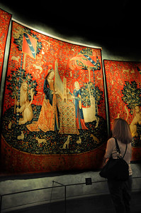 """Among the museum's collections is a group of tapestries depicting """"The Lady and the Unicorn."""" Woven in Flanders and made of wool and silk, they are considered among the finest works of art from medieval Europe."""