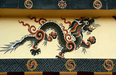 Bhutanese architecture is conspicuous by its colorful wall paintings.