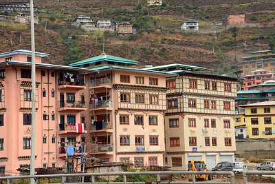 """In some ways Thimphu represents the """"new"""" Bhutan.  In some sections of the city new """"high rise"""" construction is underway."""