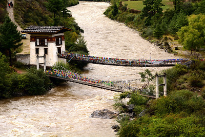 In addition to being a spiritual teacher, Thangtong Gyalpo also brought the knowledge of iron-working to  Bhutan.  He built dozens of iron suspension bridges in the country, the last of which washed away in 2012 - after being in continuous use for more than 550 years!