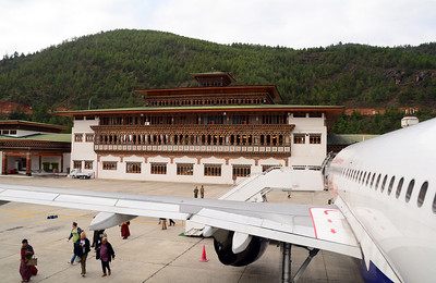 Like most of the country's structures, the terminal at Bhutan's international airport was distinctly Bhutanese.