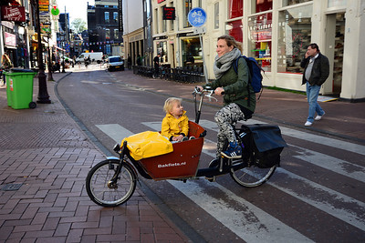"Common among the hordes of bicyclists is the ""bakfiet,"" a traditional Dutch cargo bicycle, perfect for moms with children."
