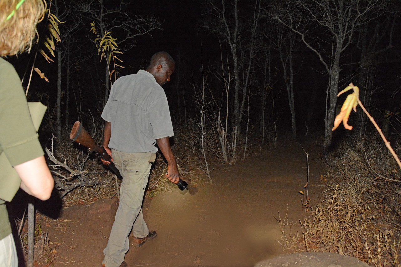 At night one of our safari guides would lead us to our protective tents, and in two of the camps, there was always someone accompanying us with a hunting rifle.