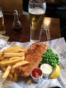 "By contrast, fish and chips, the stock meal for working class Londoners – and tourists – shows no signs of diminishing. The first fish and chip shop opened in London in 1860, and today virtually every corner pub touts its version as the ""world's best."""