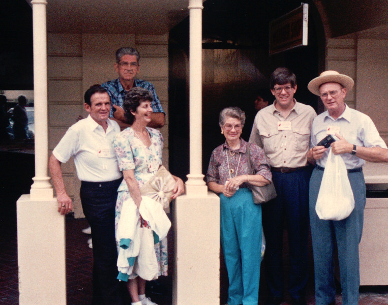 Shopping on Bay Street, Nassau - Carnival Cruise Bahamas - NSP Convention  9-30 to 10-4, 1991<br /> Charlie Allred, CB Newton, Louise Allred, Edith Newton, Randal and Howard Murphy