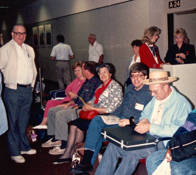 Awaiting Flight Out - Carnival Cruise Bahamas - NSP Convention  9-30 to 10-4, 1991<br /> James Averette, Wendi & Dustin Hawn, Elizabeth Averette, Randal & Howard Murphy