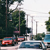 Looking Down Water Street to Consulate Inn with Red Canopy - Pictou, Nova Scotia, Canada  8-28-97